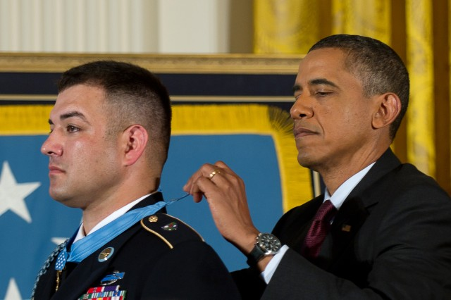 President Barack Obama awards Army Sgt. 1st Class Leroy Petry the Medal of Honor at the White House in Washington, D.C., July 12, 2011.