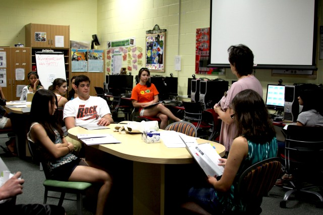 Army Community Service staff member Amy Weyhrauch (standing) talks to teens involved in the Hired! Program about job possibilities and had them log on to the Bureau of Labor Statistics to look at various jobs, job outlook for the future and compensation paid at various jobs at the Youth Services Building July 7. Teens involved in the Hired! Program receive a $500 stipend from Kansas State University. A few of the teens have jobs on post working at such places as the Five Star Inn and Balfour Beatty Communities.