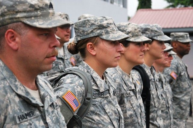 Soldiers from the 814th Medical Detachment of the North Dakota Army National Guard stand in formation at Burma Camp in Accra, Ghana, July 12, the second day of the bilateral training exercise called MEDFLAG 11.