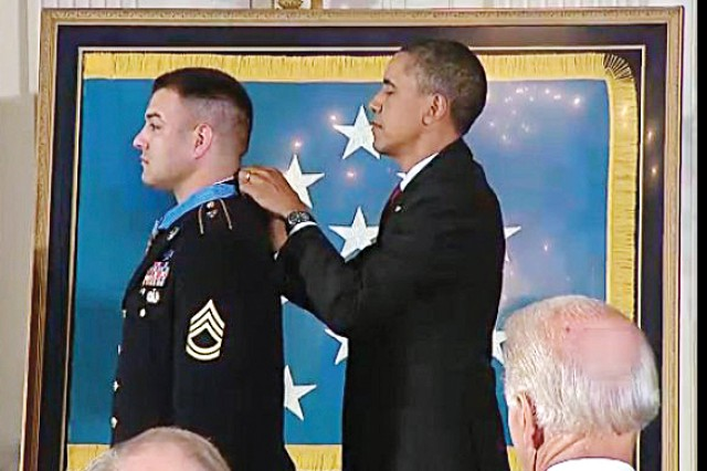 Barack Obama presents the Medal of Honor to Sgt. 1st Class Leroy Petry Tuesday