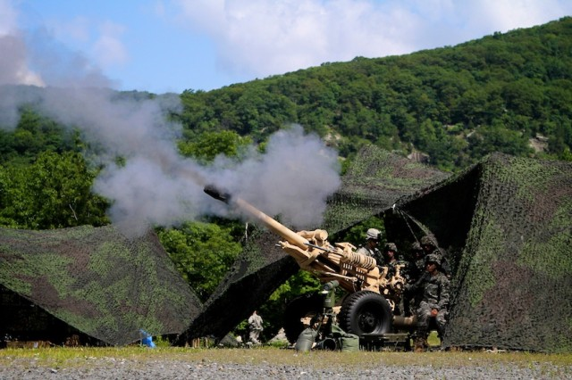 Cadets assigned 2nd Company of Cadet Field Training fire a M119 (105mm) gun during the Fire Support training, June 30, West Point N.Y  Photo by Tommy Gilligan/West Point Public Affairs.