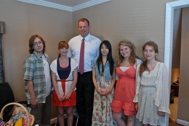 Rep. Jon Runyan (center) speaks to a group of exchange students during a visit at his Mount Holly, N.J., office June 8, 2011. The exchange students, part of the AYUSA foreign exchange program As part of their program, the students - from Germany and Tokyo - are encouraged to visit with local government officials to learn about their host country's system of government.
