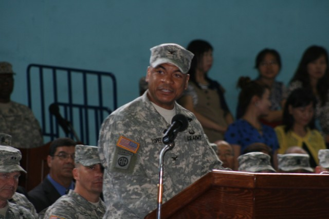 Col. Michael Lopez addresses the audience following the the 403rd Army Field Support Brigade change of command ceremony, July 8 on Camp Walker, Daegu, Korea. Lopez assumed command of the 403rd from Col. Barry Diehl.