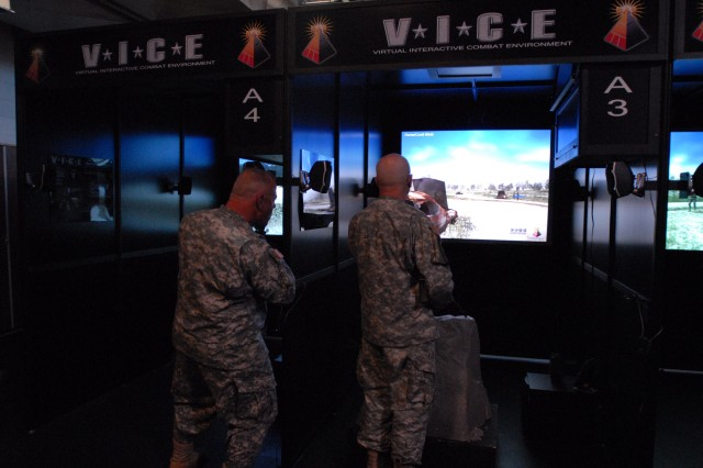 "Soldiers from the 99th Regional Support Command practiced their Warrior Task skills at the Virtual Interactive Combat Environmental (V.I.C.E) trainer in preparation for the upcoming annual training mission dubbed ""Operation Checkerboard"". (U.S. Army Photo by Sgt. 1st Class Alyn-Michael Macleod)"