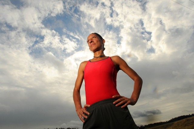 Sabine Pullins quietly entered the marathon scene four years ago. Pullins hopes to work at a gym on post where she can share her expertise in training and nutrition with Soldiers and spouses. Of the 14 marathons she has run, Pullins made it to the award podium 12 times, with seven first-place finishes.