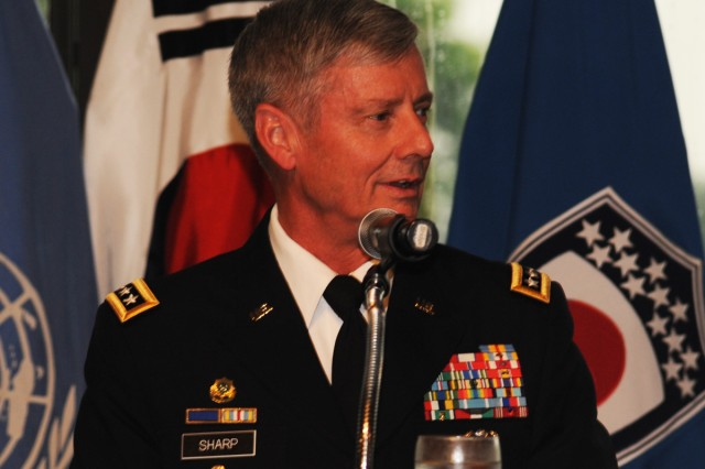 "Gen. Walter ""Skip"" L. Sharp, commander of United Nations Command, Combined Forces Command and U.S. Forces Korea, speaks at the 9th Annual Good Neighbor Awards July 11."
