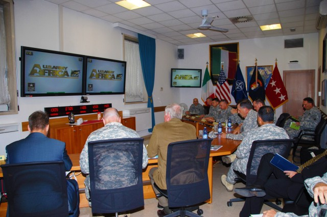 Gen. Peter W. Chiarelli, vice chief of staff of the Army, attends a U.S. Army Africa command briefing with USARAF primary staff during a visit to Vicenza, Italy, July 14, 2011.