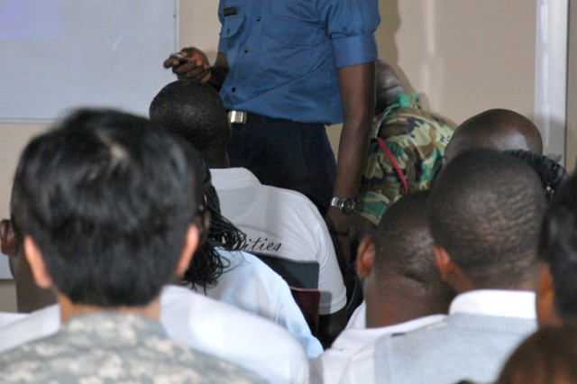 Lt. Cmdr. Edward Nyarko, head of the public health division of the 37th Military Hospital in Accra, Ghana, instructs a class about diseases common in Ghana July 15, 2011, as part of MEDFLAG 11 at Burma Camp in Accra, Ghana.