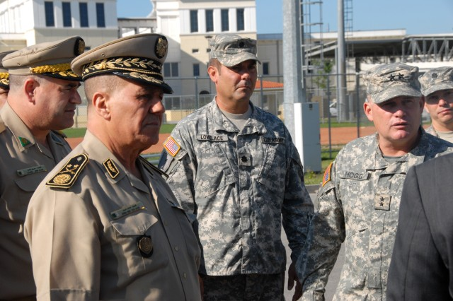 Major General Tafer Ahcene the Algerian Land Forces Commander visits U.S. Army Africa in Vicenza Italy.  MG Ahcene is on Caserma Ederle to meet with Maj Gen Hogg, the USARAF Commander and to look at the training facilities and equipment used by USARAF.