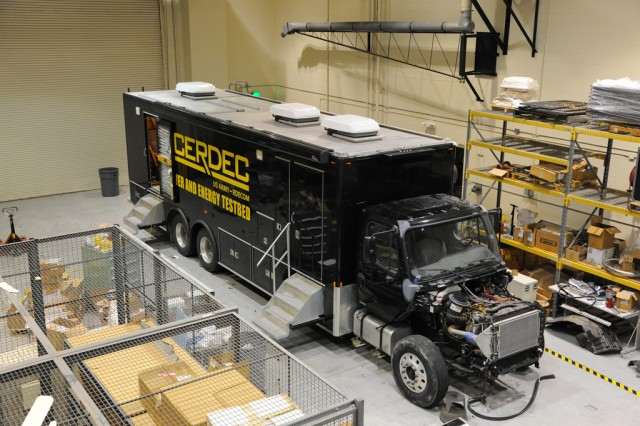 Edgewood Chemical Biological Center Advanced Design and Manufacturing Prototype Integration Facility workers are transforming a tractor-trailer into the STEM Asset.