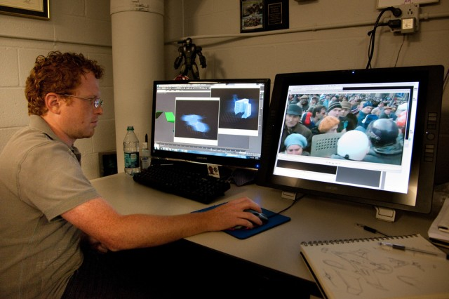 Edgewood Chemical Biological Center industrial designer/concept artist Greg Thompson works on videos and graphics for the STEM Asset.