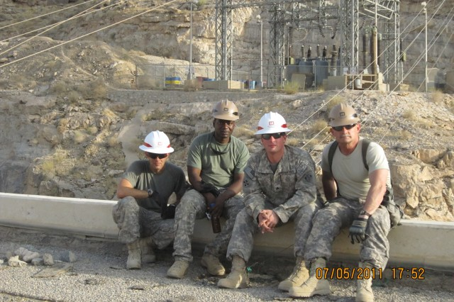 From left, Sgt. Joshua Strausbaugh, Staff Sgt. Alex Brown, Sgt. Terry Dietrick and Chief Warrant officer 5 Thomas Black.
