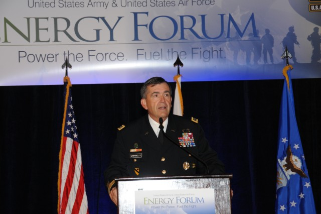 Gen. Peter Chiarelli, Army vice chief of staff, opens the discussion on the second day of the first Army - Air Force Energy Forum in Arlington, Va.