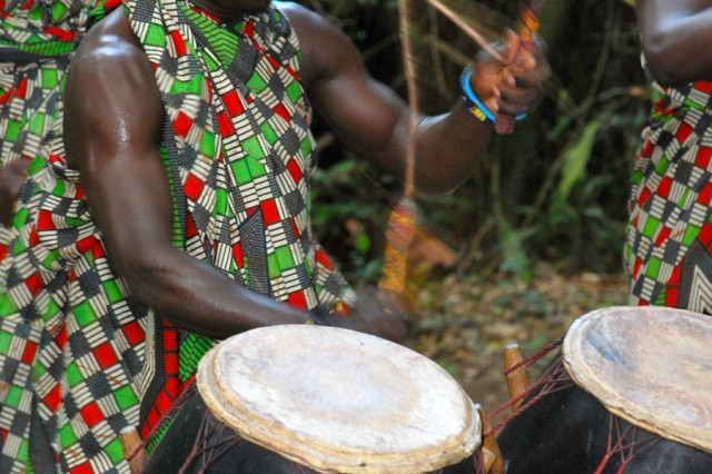 Musicians perform traditional music of the Shai people July 17 during a presentation at Dodowa Forest, Ghana, for the U.S. participants of MEDFLAG 11, an annual bilateral Ghanaian-American medical exercise.