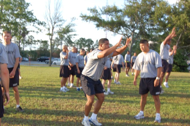 SSG Tilley, Orange Park, proves his staying power during the early-morning PT challenge.