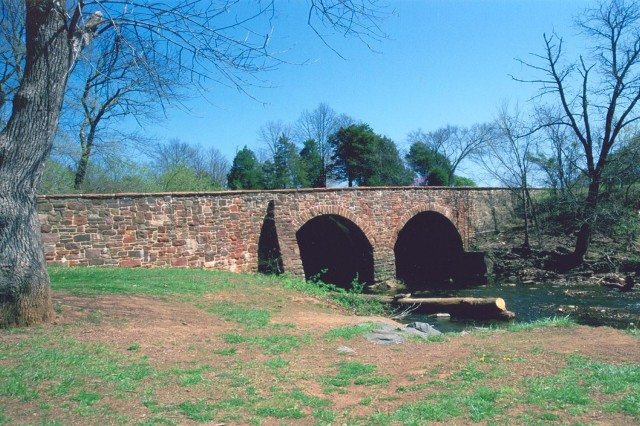 Modern view of the Stone Bridge at Manassas National Battlefield, National Park Service.