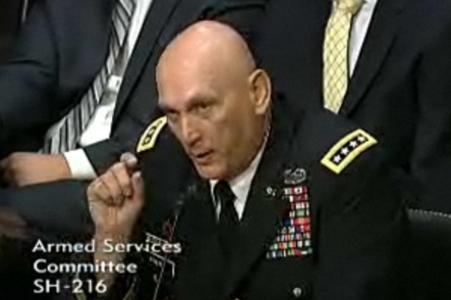 Gen. Raymond T. Odierno testified in front of the Senate Armed Services Committee, July 21, 2011, as part of the confirmation process for his nomination as the next chief of staff or the Army.