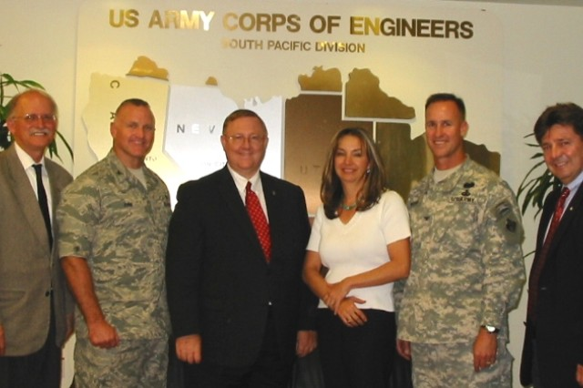 The U.S. Army Corps of Engineers South Pacific Division team welcomed AFCEE Director Terry Edwards and Deputy Director Col. Chris Funk on their first official visit to the region.  From left to right: Andy Constantaras, Col. Funk, Edwards, Monique Ostermann, Col. Wehr, and Julio Arocho.