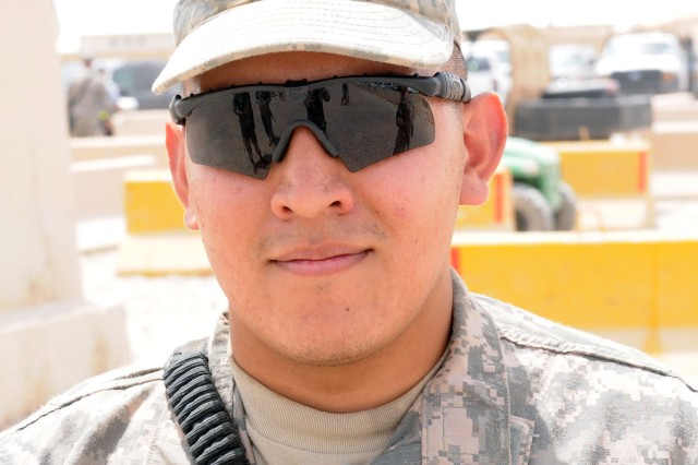 "Specialist Carlos Hernandez, mechanic, 370th Transportation Company, 275th Combat Sustainment Support Battalion, from Brownsville, Texas:  ""Always be prepared, keep your head on the swivel, even when you're just walking to chow."""