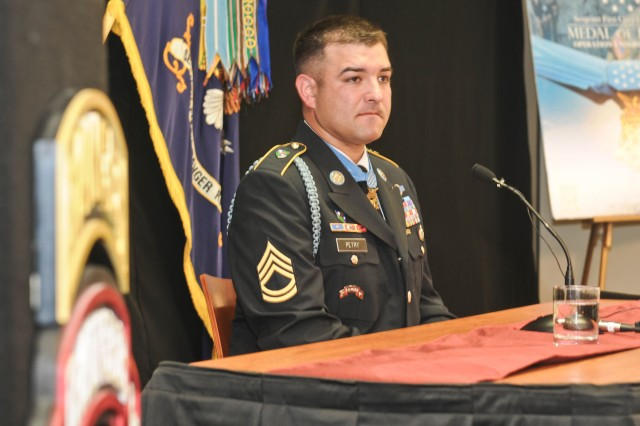 Sgt. 1st Class Leroy A. Petry, recent Medal of Honor recipient, speaks, July 19, 2011, at a press conference held at Joint Base Lewis-McChord, Wash. Petry received the medal for his courageous actions in Afghanistan, May 26, 2008.