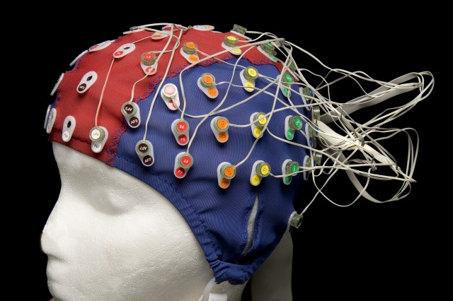 Army researchers use an electrode cap with pre-amplified surface electrodes, like the one seen here, to measure electroencephalographic data sent out by the brain. Researchers use the data gathered to develop operational and medical breakthroughs.