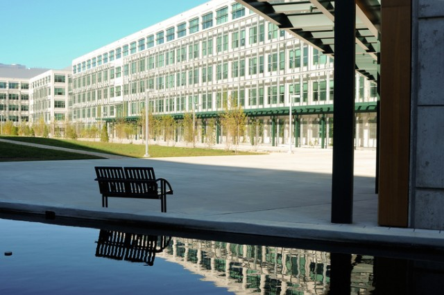 The Command, Control, Communications, Computers, Intelligence, Surveillance and Reconnaissance Center of Excellence campus on Aberdeen Proving Ground, Md., as viewed from the reflecting pool in the courtyard.
