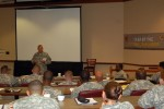 CSM Stiteler addresses station and company leaders at Jacksonville Battalion Station Commander Training