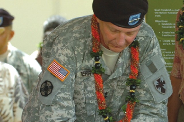 Maj. Gen. Michael J. Terry, then commander, U.S. Army-Hawaii, signs the Native Hawaiian Covenant at Fort DeRussy, March 24, 2010.