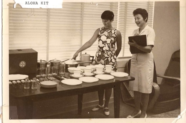 """""""Aloha Kits,"""" also known as the Lending Closet, are displayed at ACS, Schofield Barracks, in this photo taken in 1970. The Lending Closet is still in service as part of the Relocation Assistance Program. Historical photos depicting ACS through the decades will be displayed at the ACS birthday celebration, 9 a.m.-1 pm., Monday, ACS, Building 2091, Schofield Barracks."""