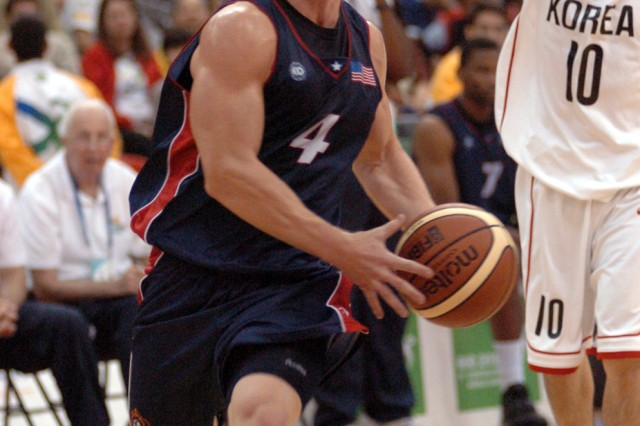 Second Lt. Paul Nelson of the Army National Guard in Taylor, Mich., drives for two of his 23 points during Team USA's 84-83 victory over South Korea for the bronze medal in men's basketball at the CISM Military World Games on July 24 in Rio de Janeiro, Brazil. (U.S. Army photo)
