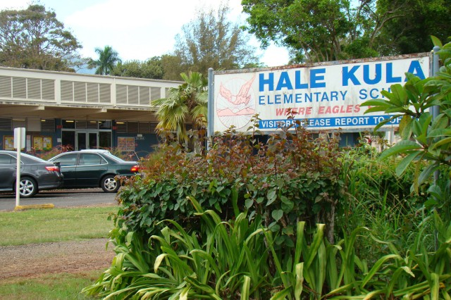 Mostly military children in preschool through 5th grades attend the nationally accredited Hale Kula Elementary School at Schofield Barracks, Hawaii.