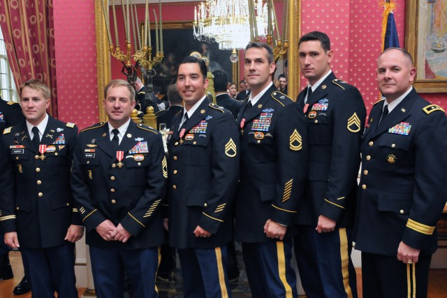 National Guard Special Forces Soldiers from the 20th Special Forces Group are seen with Army Maj. Gen. Timothy Kadavy, deputy director of the Army National Guard (right), after the Soldiers received the French Croix de la Valeur Militaire, roughly analagous to the Silver Star, during a private ceremony at the French ambassador's residence in Washington, D.C., July 25, 2011, awarding the honor to one active duty and five National Guard Special Forces Soldiers