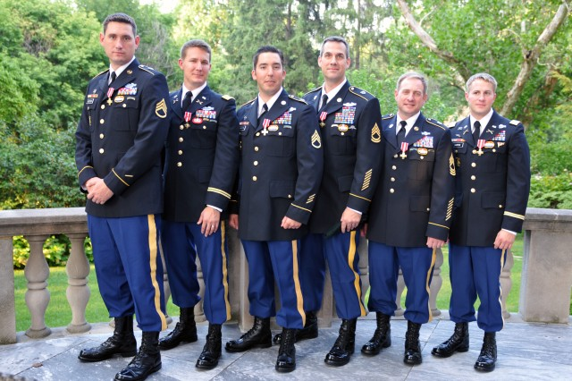 Special Forces Soldiers from the 10th Special Forces Group and the 20th Special Forces Group are seen after they received the French Croix de la Valeur Militaire, roughly equivalent to the Silver Star, during a private ceremony at the French ambassador's residence in Washington, D.C., July 25, 2011, awarding the honor to one active duty and five National Guard Special Forces Soldiers.