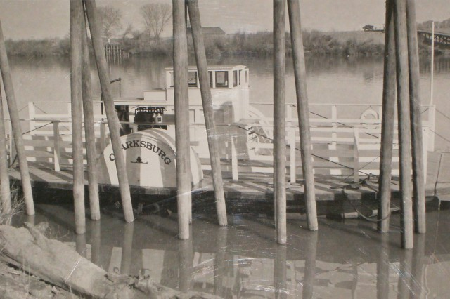 The Clarksburg Ferry, shown January 13, 1920, eight years before it sank along the west bank of the Sacramento River at Clarksburg, in Yolo County, Calif.
