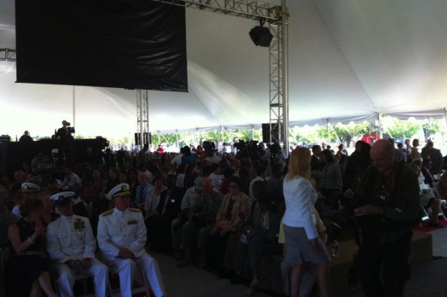WASHINGTON, DC (July 27, 2011) -- An audience of over 1,000 awaits the start of the colors casing ceremony at Walter Reed Army Medical Center.