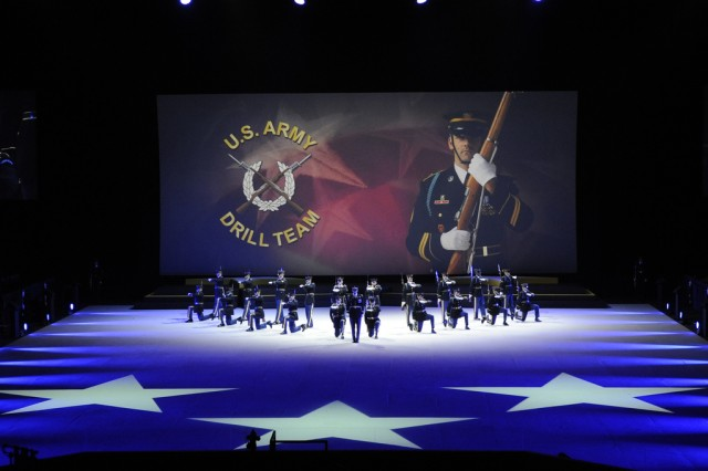 """Soldiers from the 3rd U.S. Infantry Regiment (The Old Guard) and The U.S. Army Band """"Pershing's Own"""" perform The U.S. Army's Spirit of America."""