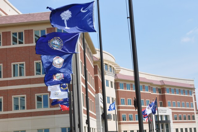 FORT BRAGG, N.C. (July 28, 2011) - State flags fly in front of the FORSCOM/USARC combined headquarters complex here.