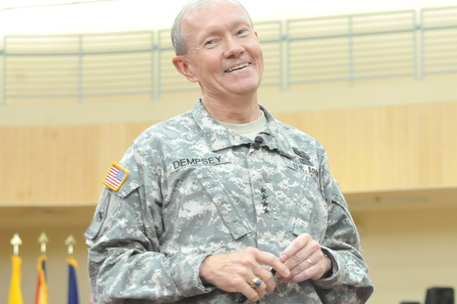 U.S. Army Chief of Staff Gen. Martin E. Dempsey talks with Soldiers, civilians and families at a town hall meeting on Camp Humphreys, South Korea, July 29, 2011.