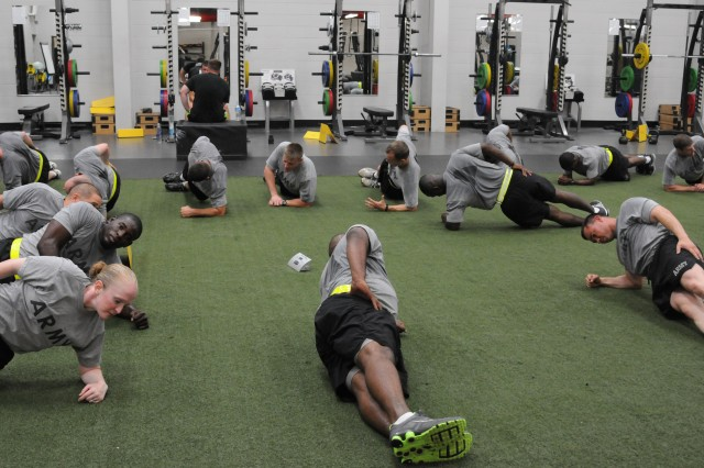 Soldiers participate in the Soldier Strength and Conditioning Course at Frederick Fitness Center, Monday. The course focuses on skills to improve performance by teaching training and injury reduction strategies, as well as increasing mobility and strength.