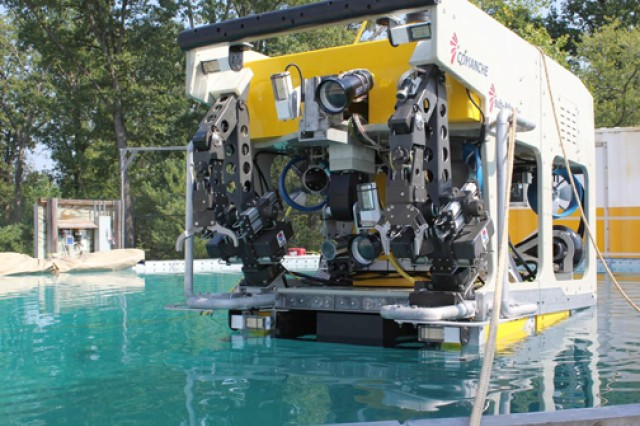 The remotely operated underwater munitions recovery system, pictured here, has recovered 32 munitions since it was first put into the waters off the Waianae Coast, Hawaii, July 1, 2011.