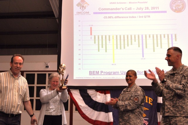 Kathy Ter Veen raises the Building Energy Monitor trophy as she is cheered by Peter Scheilen, USAG Schinnen's Energy Manager (left), USAG Schinnen's Command Group and the entire garrison at a Commander's Call held July 28, 2011.