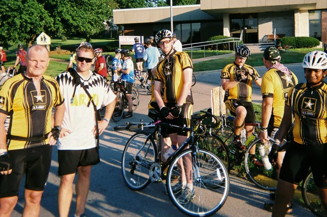 Army Sustainment Command bicyclists take a break on the last leg of a ride across Iowa. From left: Maj. Gen. Yves Fontaine, Maj. Steven Marchant, Sgt. William Gerding, Lt. Col. Peter Lane, Leslie Nepper and Sgt. Michelle Pedro.