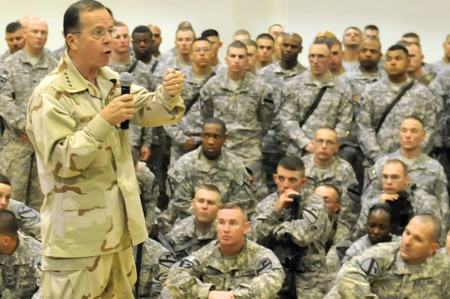 Chairman of the Joint Chiefs of Staff, Admiral Mike Mullen, speaks to Soldiers assigned to 4th Advise and Assist Brigade, 1st Cavalry Division, during a visit to Contingency Operating Site Marez, Iraq, Aug. 1, 2011. In addition to thanking the troops for their service and sacrifice, Mullen spoke with the deployed Fort Hood Soldiers about current and future military policies. Since arriving in to U.S. Division – North last fall, the 4th AAB troops assumed responsibility of overseeing security operations and partnering with ISF near Mosul in support of Operation New Dawn.