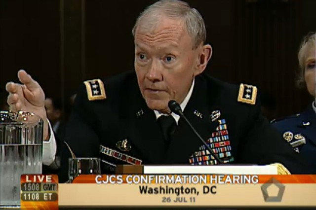 Gen. Martin E. Dempsey testifies in his confirmation hearing to members of the Senate Armed Services Committee July 26, 2011, in Washington, D.C.