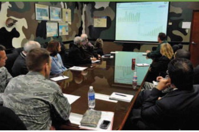 Lt Col Eric Obergfell (foreground) gives guidance during an 802nd Contracting Squadron command and staff meeting.