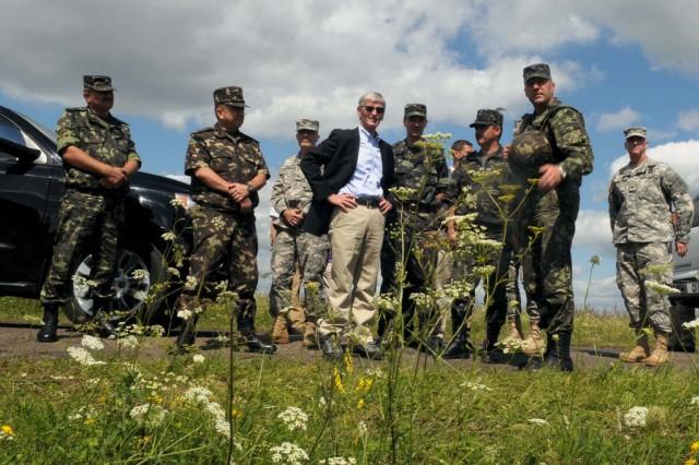 Secretary of the Army John McHugh tours Rapid Trident 2011 in Yavoriv, Ukraine, Aug. 3, 2011.