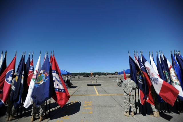Col. Robert Dickerson observes the 16th CAB Soldiers Aug. 1 following a change of command and activation ceremony at Gray Army Airfield. The aviation brigade relocated from Ft. Wainwright, Alaska to JBLM.
