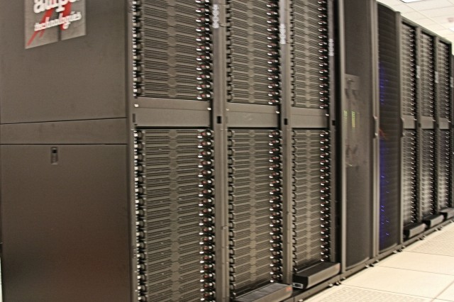 The High Performance Computer cluster located within the U.S. Army Space and Missile Defense Command/Army Forces Strategic Command Simulation Center, which helped with this year's Command, Control, Communications, Computers, Intelligence, Surveillance and Reconnaissance On-the-Move capability assessment in Fort Dix, N.J.