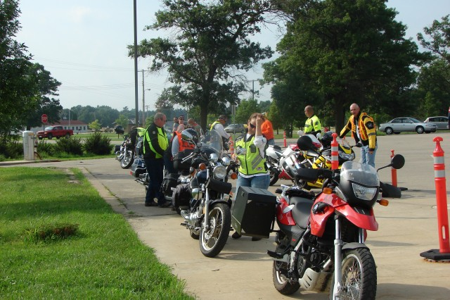Members of the Fort McCoy Patriot Warrior Riders line up their bikes at the Fort McCoy Exchange parking lot in preparation for a motorcycle ride Aug. 2.