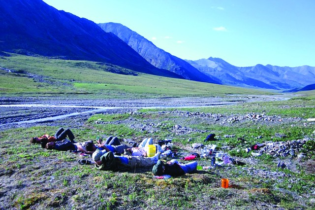 FORT WAINWRIGHT, Alaska - Backpackers take a break on their trip to Alaska's Brooks Range. The trip was one of many Fort Wainwright's Outdoor Recreation schedules for its patrons.